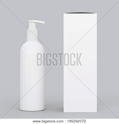 Corporate stationery set mockup. Blank brand ID elements, cosmetic or drug bottle with a cardboard box, isolated on gray, 3D rendering. Dispenser for cream, soups, foams and other cosmetics.