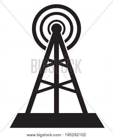 communication tower icon isolated in white background. communication tower sign.