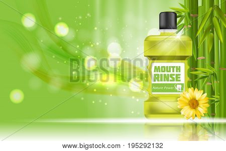 Mouth Rinse Design Cosmetics Product Bottle with Bamboo and Calendula Template for Ads, Announcement Sale, Promotion New Product or Magazine Background. 3D Realistic Vector Iillustration. EPS10