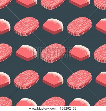 Beef steak raw meat food red fresh cut butcher uncooked chop ingredient seamless pattern vector illustration. Slice pork cooking barbecue fillet sirloin beefsteak gourmet protein meal.