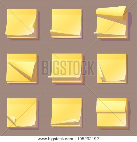 Yellow office sticky memory notes vector illustration sticker paper adhesive information memo blank. Business office notice reminder notepaper sheet. Memory important empty list.