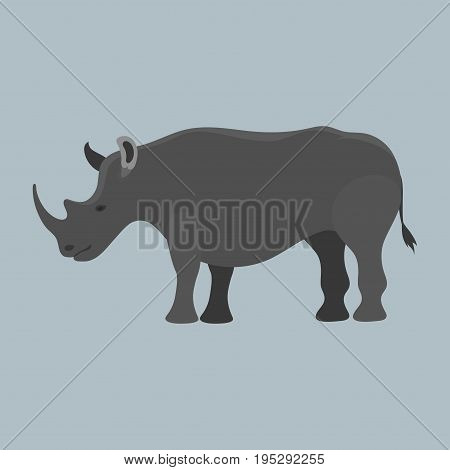Wildlife rhinoceros mammal isolated rhino big wild africa animal endangered species horn zoo character vector illustration. Natural armor large dangerous jungle rare.