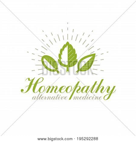 Green spring leaves vector symbol for use in holistic medicine rehabilitation or pharmacology. Wellness and harmony symbolic emblem.