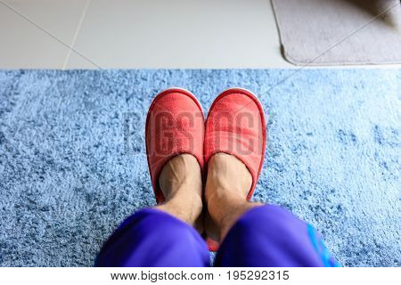 House Slipper Shoe In Living Room With Blue Carpet Softness