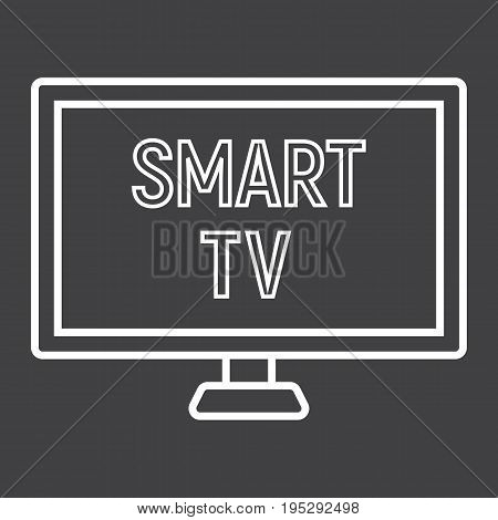Smart TV line icon, household and appliance, vector graphics, a linear pattern on a black background, eps 10.
