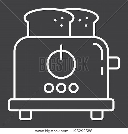 Toaster line icon, kitchen and appliance, vector graphics, a linear pattern on a black background, eps 10.