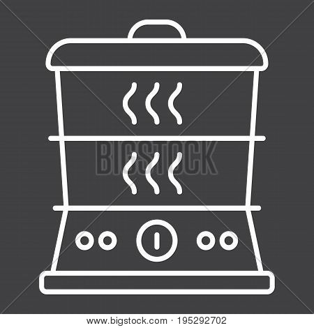 Food Steamer line icon, kitchen and appliance, vector graphics, a linear pattern on a black background, eps 10.