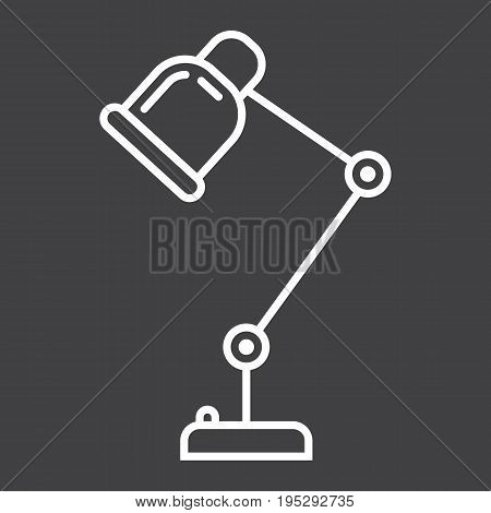 Desk lamp line icon, table lamp and appliance, vector graphics, a linear pattern on a black background, eps 10.