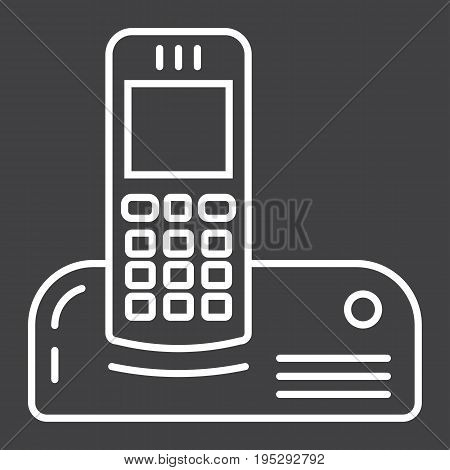 Wireless telephone line icon, household and appliance, vector graphics, a linear pattern on a black background, eps 10.