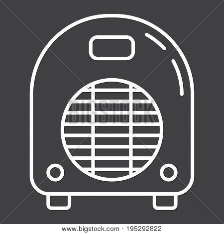 Electric fan heater line icon, household and appliance, vector graphics, a linear pattern on a black background, eps 10.