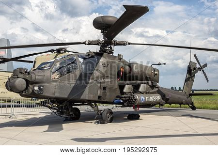 BERLIN - JUN 2 2016: British Army AH-64D attack helicopter on display at the Berlin ILA Airshow