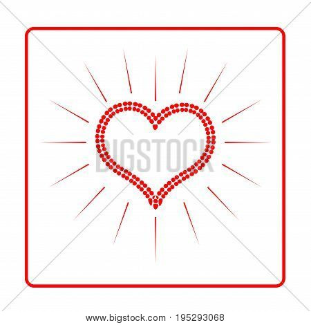 Heart red in frame isolated. Light sign on white background. Romantic silhouette symbol linked join love passion and wedding. Colorful mark of valentine day. Design element. Vector illustration