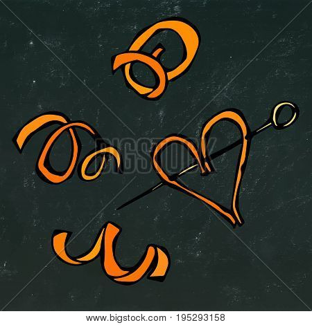 Orange Peel Spiral. Realistic Hand Drawn Doodle Style Sketch.Vector Illustration Isolated on a Black Chalkboard Background. Realistic Hand Drawn Doodle Style Sketch.