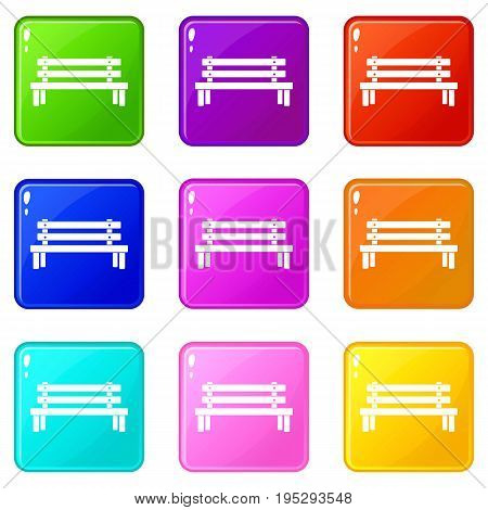 Wooden bench icons of 9 color set isolated vector illustration