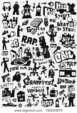 graffiti rap - vector icon set , design elements