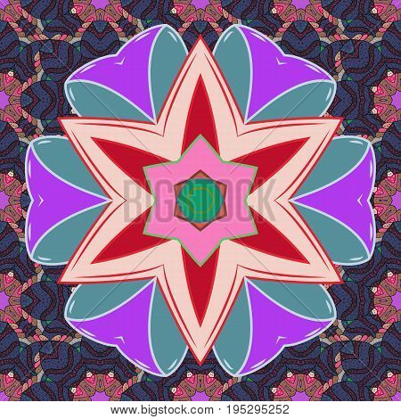 Vector architectural muslim texture design. Can be used for brochures invitations persian motif. Islamic colored mandala round ornament on colorful background.