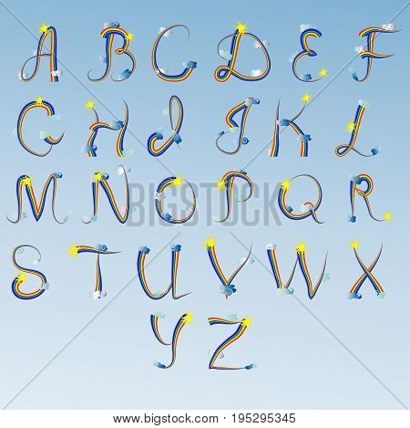 English Alphabet, Letters Written In An Iridescent Outline, Decorated With Clouds And The Sun. Curl,