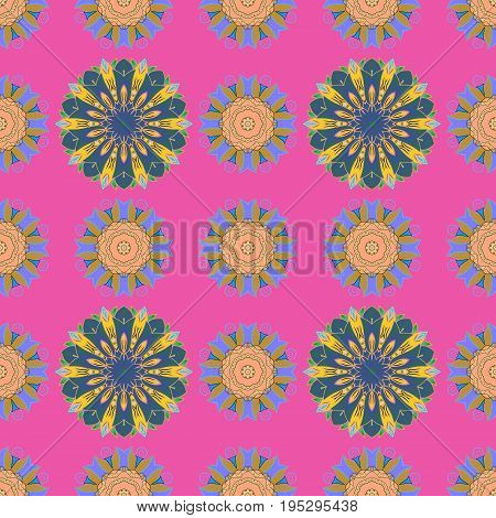 Leaf natural pattern in colors. Summer design. Seamless floral pattern can be used for sketch website background wrapping paper. Vector flower concept.