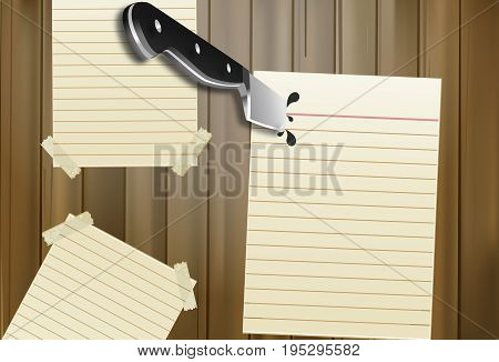 Than in a note on a wooden board, vector art illustration.