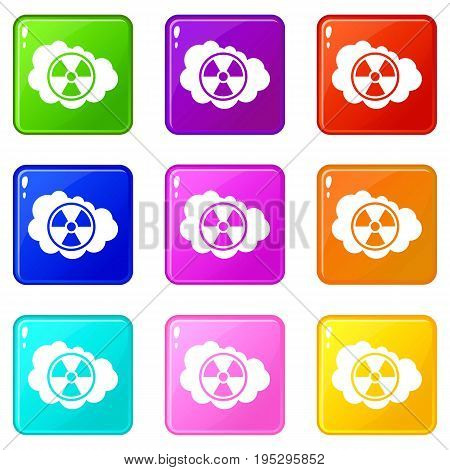 Cloud and radioactive sign icons of 9 color set isolated vector illustration