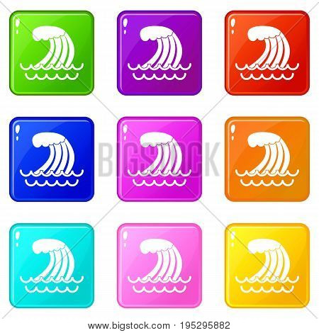 Tsunami wave icons of 9 color set isolated vector illustration