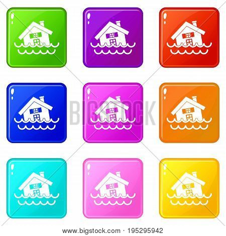 House sinking in a water icons of 9 color set isolated vector illustration