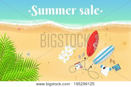 Summer Sale. Cartoon sea beach. Top view of the beach. Accessories clothes and surfboards on a sandy beach. White text on the water. Vector illustration