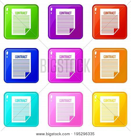 Contract icons of 9 color set isolated vector illustration