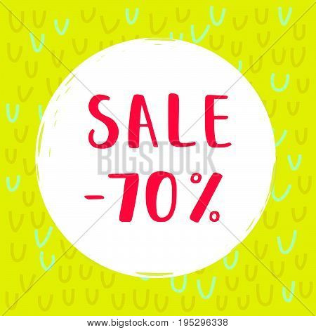Circle Sale poster with Sale -70% lettering. Vector banner template. Sale background with a knitted texture for a winter.