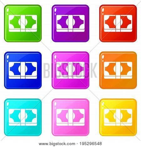 Packed dollars money icons of 9 color set isolated vector illustration