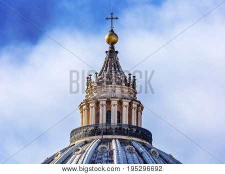 ROME, ITALY - JANUARY 18, 2017 Saint Peter's Basilica Michelangelo Dome Cross Vatican Rome Italy