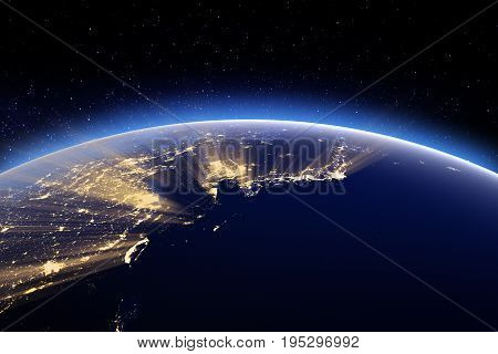 Japan, Korea, Taiwan, China. 3D Rendering. Stars my own photo. Elements of this image furnished by NASA