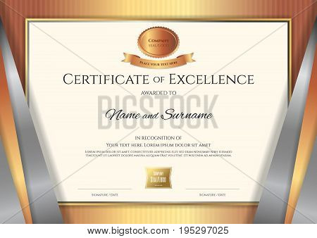 Luxury certificate template with elegant golden bronze border frame Diploma design for graduation or completion