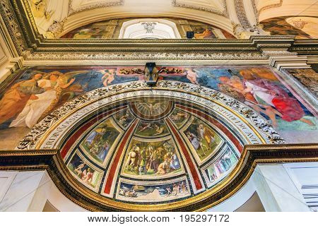 ROME, ITALY - JANUARY 18, 2017 Christian Frescoes Santa Maria Della Pace Church Basilica Dome Rome Italy. Church built in 1400 and 1500s by Pope Sixtus IV on the spot where a painted Madonna was pierced and blood came out.