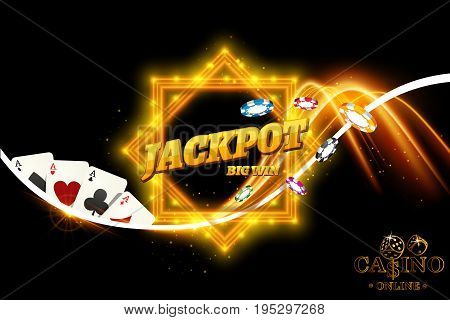 Vector design casino banner. Black background with dice casino chips playing cards for poker blackjack