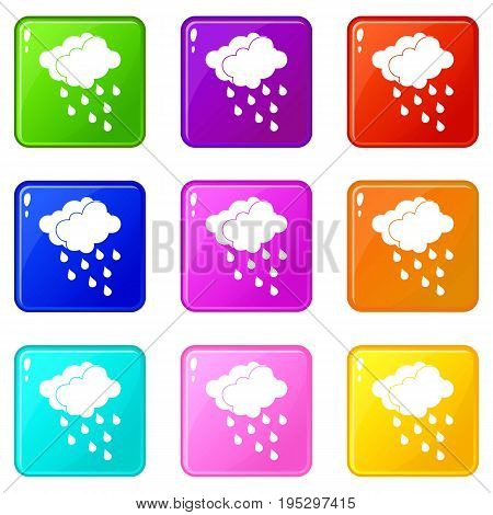 Clouds and water drops icons of 9 color set isolated vector illustration