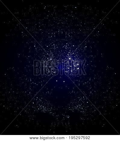 Celestial bodies in the night sky, vector art illustration starry cosmos.