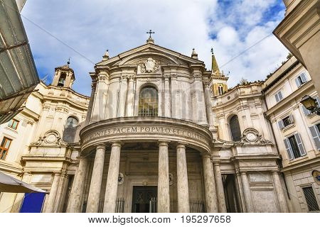 Santa Maria Della Pace Church Rome Italy. Church built in 1400 and 1500s by Pope Sixtus IV on the spot where a painted Madonna was pierced and blood came out.