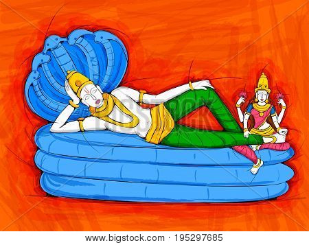 Vector design of Abstract Statue painting of Indian Lord Vishnu sculpture