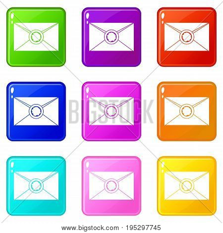 Envelope with red wax seal icons of 9 color set isolated vector illustration