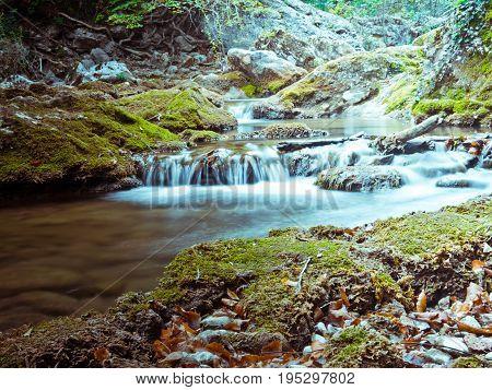 Mountain riffle. Long exposure shot outdoor landscape