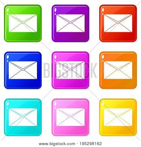 Closed envelope icons of 9 color set isolated vector illustration