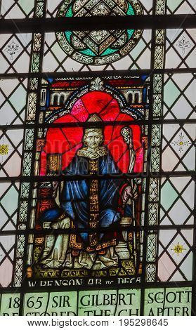 LONDON, ENGLAND - JANUARY 16, 2017 Edward White Benson Archbishop of Canterbury Stained Glass 13th Century Chapter House Westminster Abbey Church London England. Benson was Archbishop from 1883 to his death in 1896.
