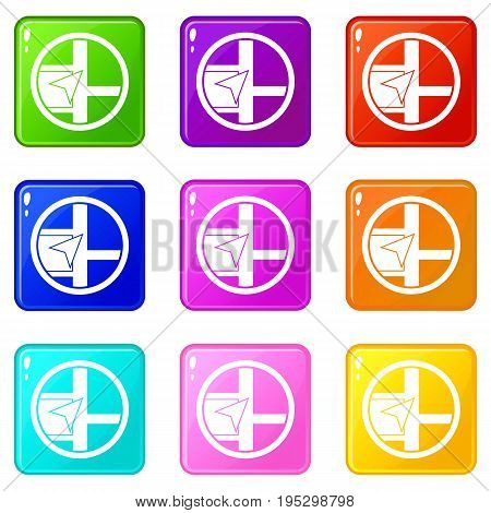 Map navigation icons of 9 color set isolated vector illustration
