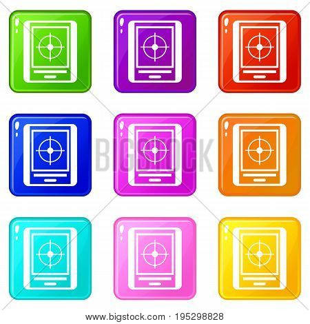 Radar icons of 9 color set isolated vector illustration