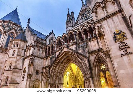 LONDON, ENGLAND - JANUARY 15, 2017 Royal Courts of Justice Old City London England.