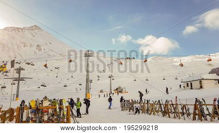 Hintertux, Austria-10 May 2017:Unidentified Skiers On Slope And Ski Lift On HinterTux Austria Winter Panorama On 10 May 2017