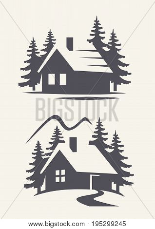 vector black cabin icon on white background