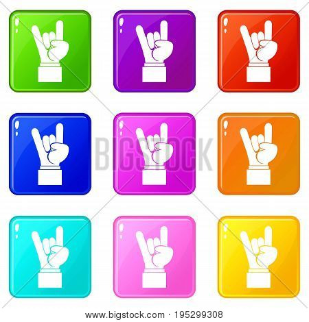 Rock and Roll hand sign icons of 9 color set isolated vector illustration