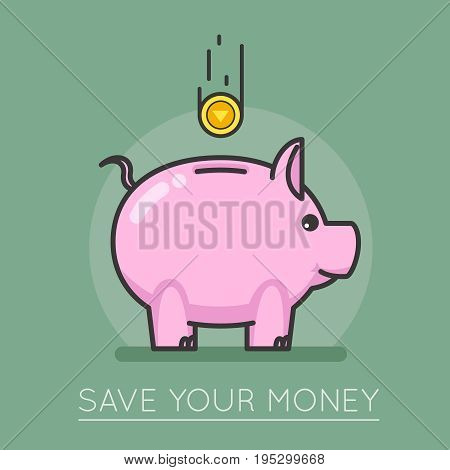 Money saving bank coin pig lineart concept design vector illustration
